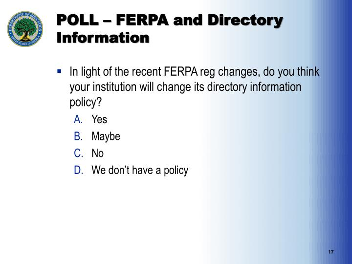 POLL – FERPA and Directory Information