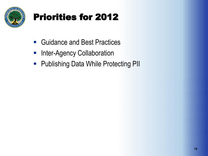 Priorities for 2012