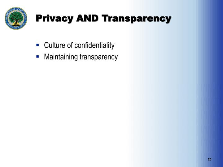 Privacy AND Transparency