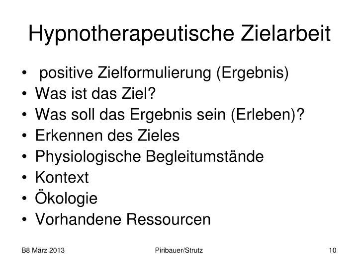 Hypnotherapeutische Zielarbeit