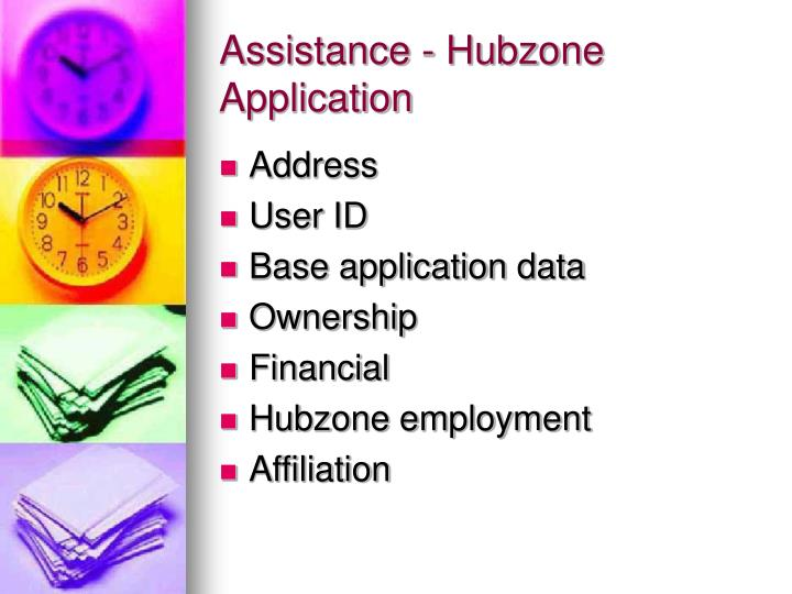 Assistance - Hubzone Application