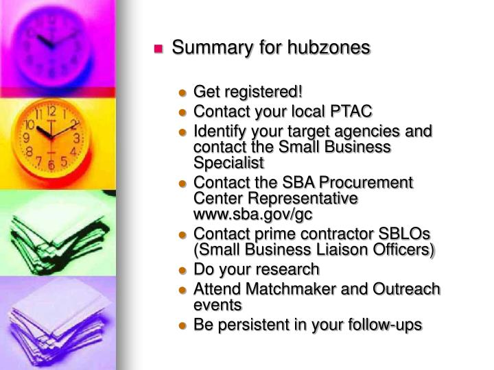 Summary for hubzones