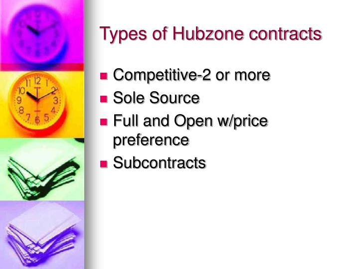 Types of Hubzone contracts