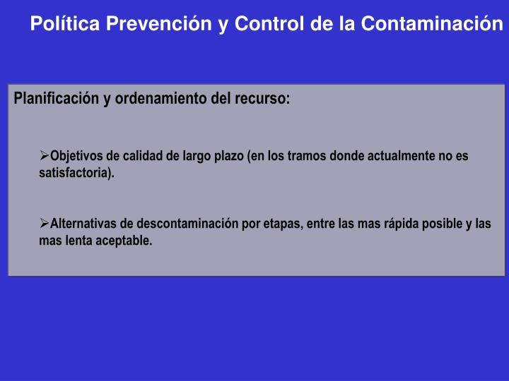 Política Prevención y Control de la Contaminación