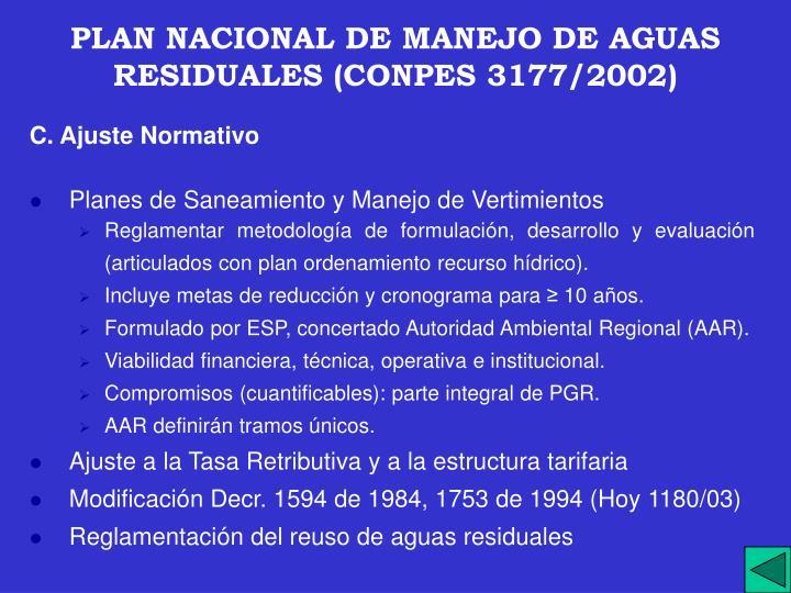 PLAN NACIONAL DE MANEJO DE AGUAS RESIDUALES (CONPES 3177/2002)