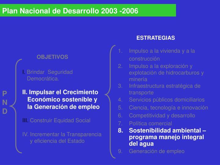 Plan Nacional de Desarrollo 2003 -2006