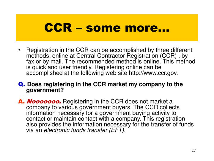 CCR – some more…
