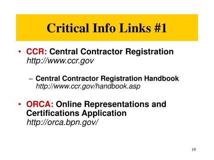 Critical Info Links #1