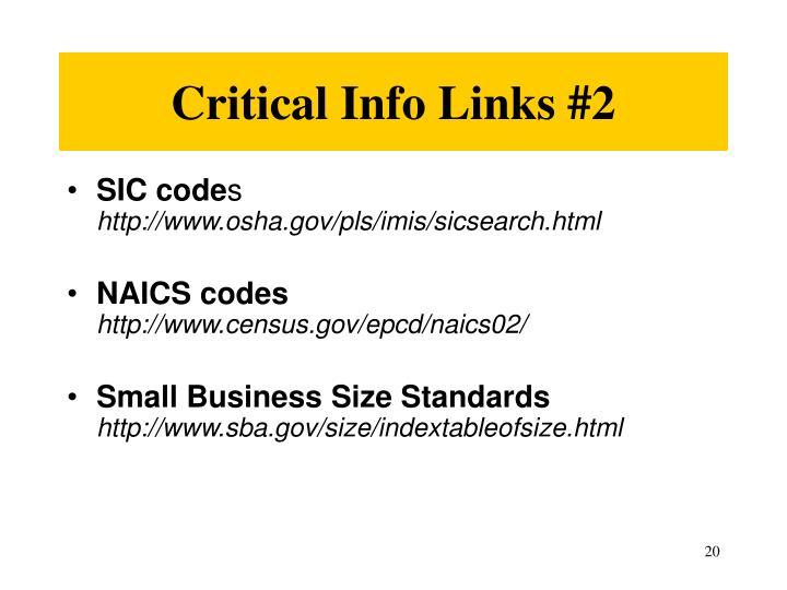 Critical Info Links #2