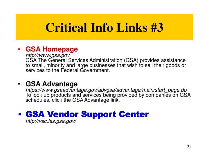 Critical Info Links #3
