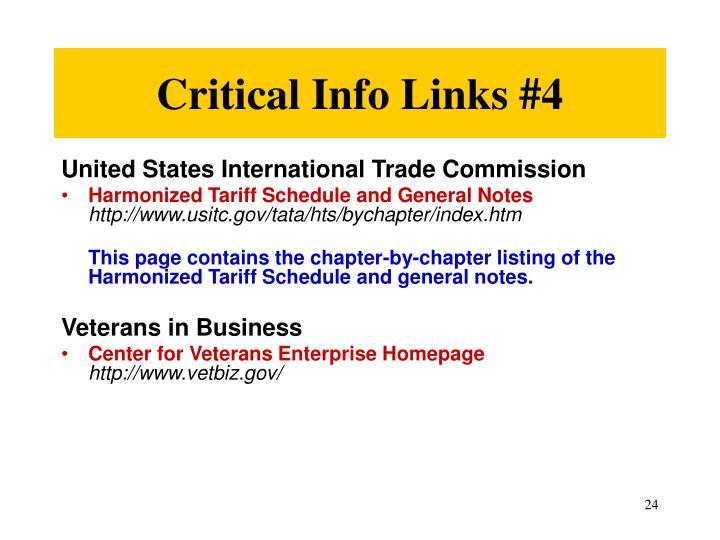 Critical Info Links #4