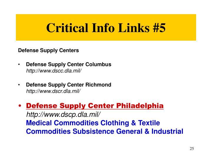 Critical Info Links #5