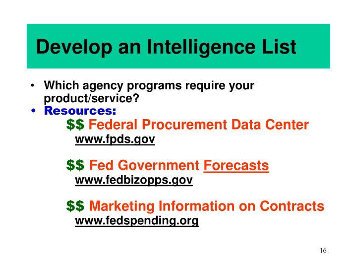 Develop an Intelligence List
