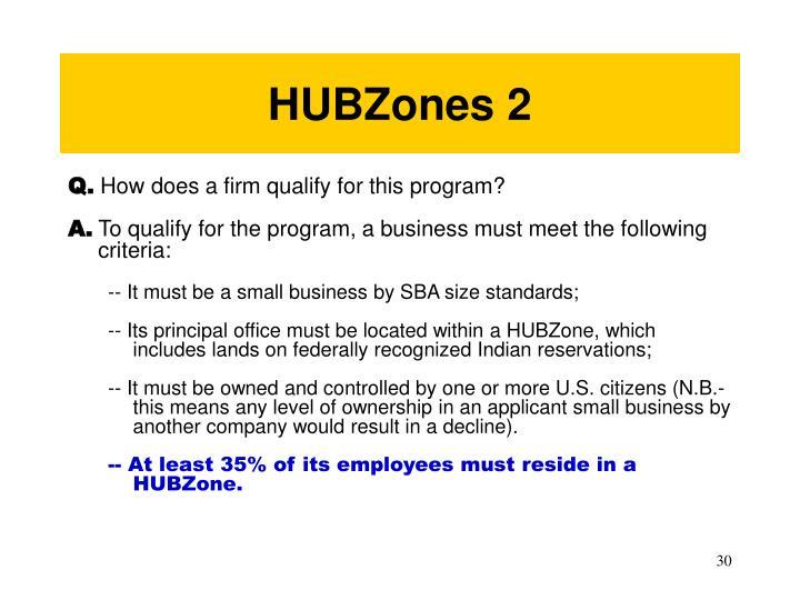 HUBZones 2