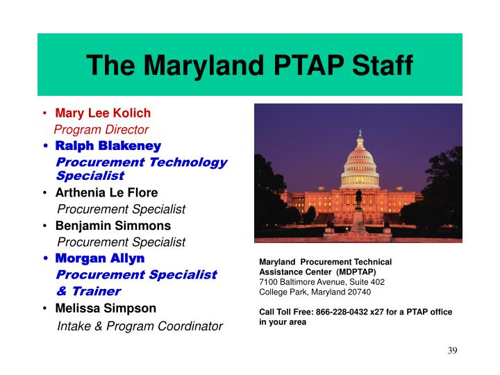 The Maryland PTAP Staff