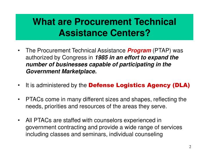What are procurement technical assistance centers