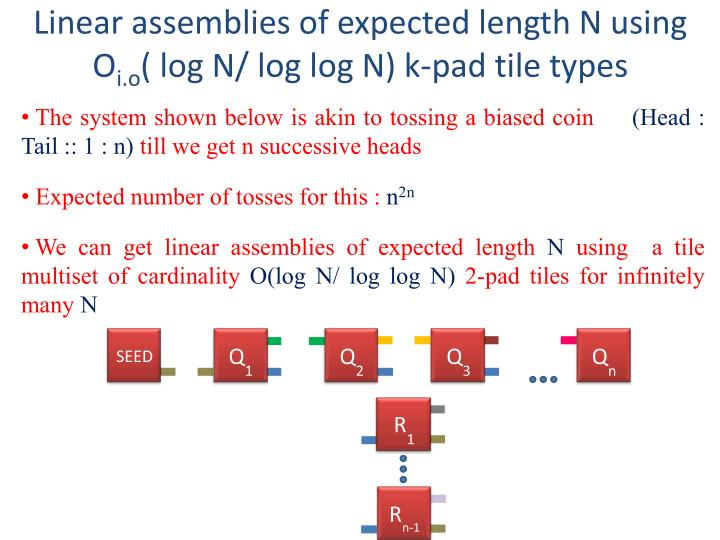 Linear assemblies of expected length N using O