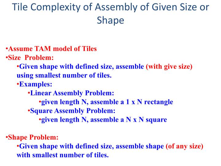 Tile Complexity of Assembly of Given Size or Shape