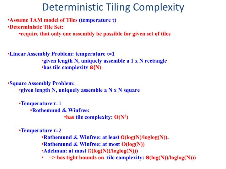 Deterministic Tiling Complexity
