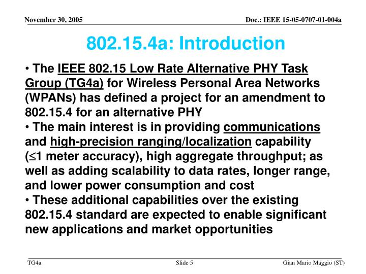802.15.4a: Introduction