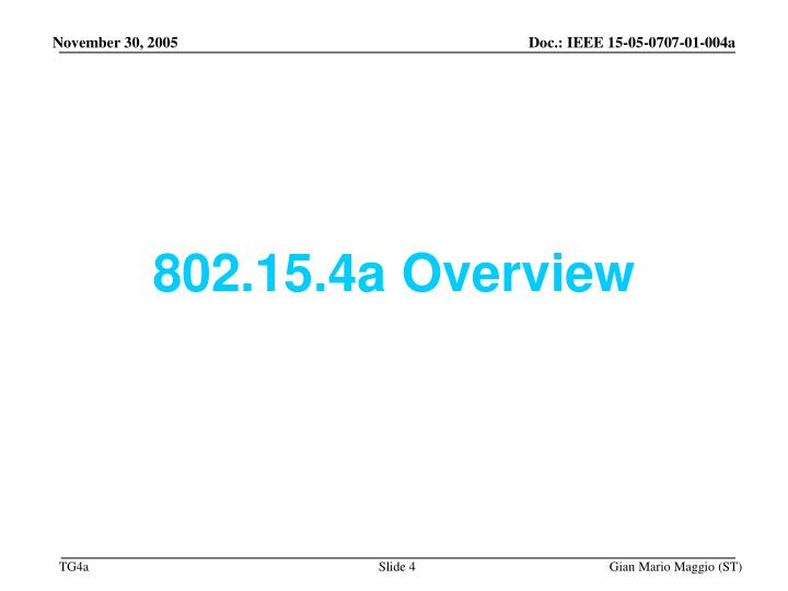 802.15.4a Overview
