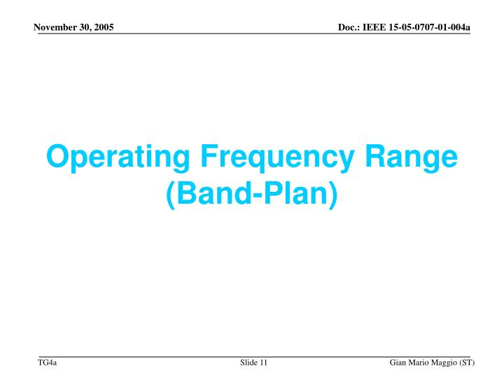 Operating Frequency Range