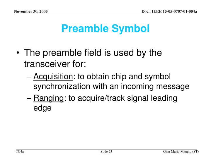 Preamble Symbol