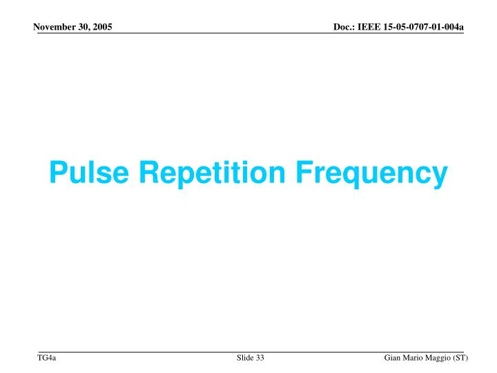 Pulse Repetition Frequency