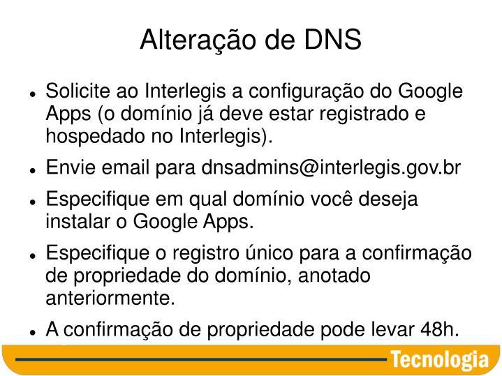 Alteração de DNS