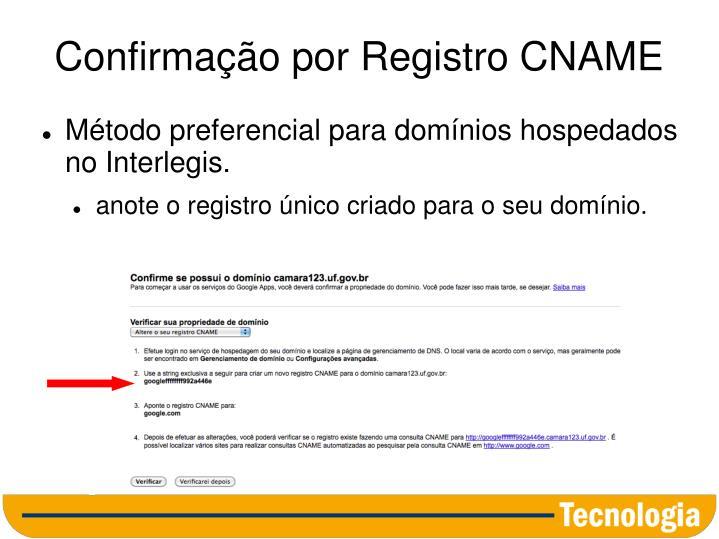 Confirmação por Registro CNAME
