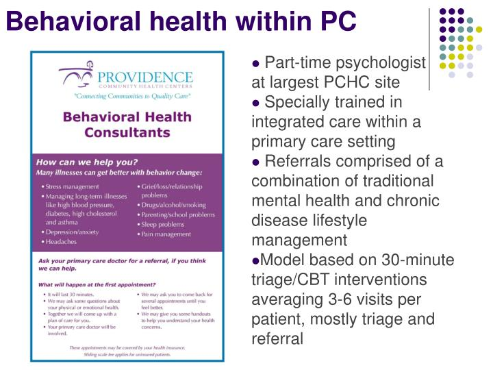 Behavioral health within PC