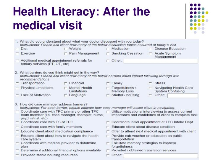Health Literacy: After the medical visit
