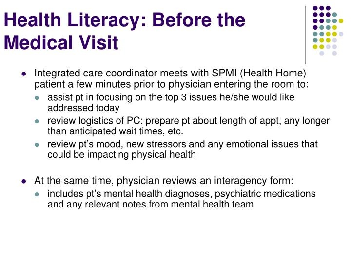 Integrated care coordinator meets with SPMI (Health Home) patient a few minutes prior to physician entering the room to: