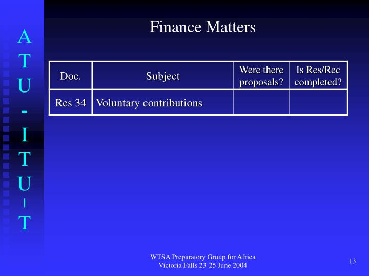 Finance Matters