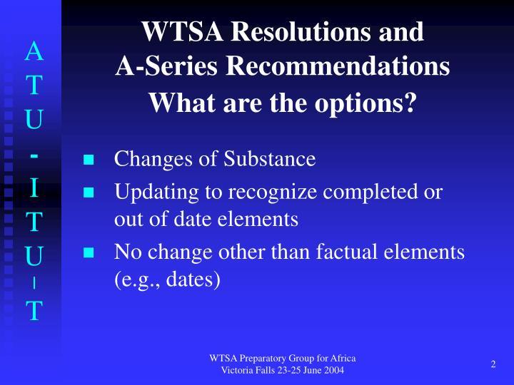 WTSA Resolutions and