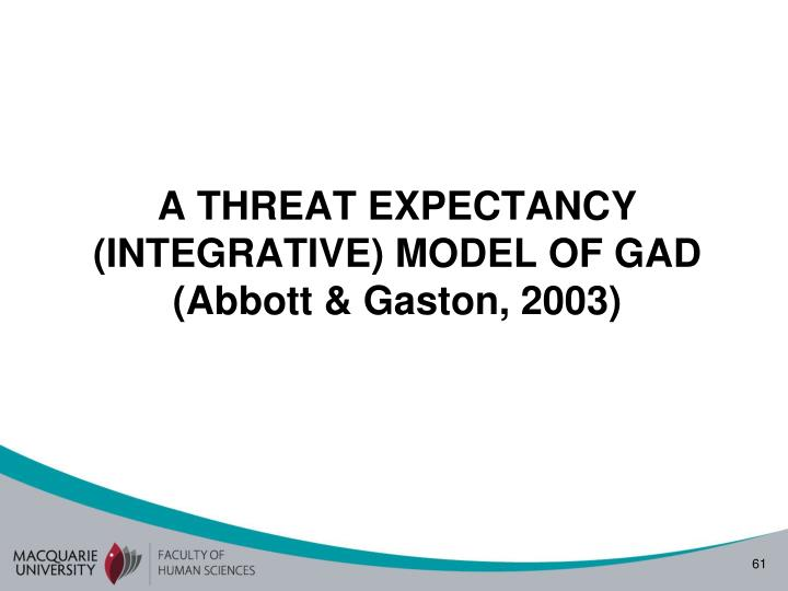 A THREAT EXPECTANCY (INTEGRATIVE) MODEL OF GAD