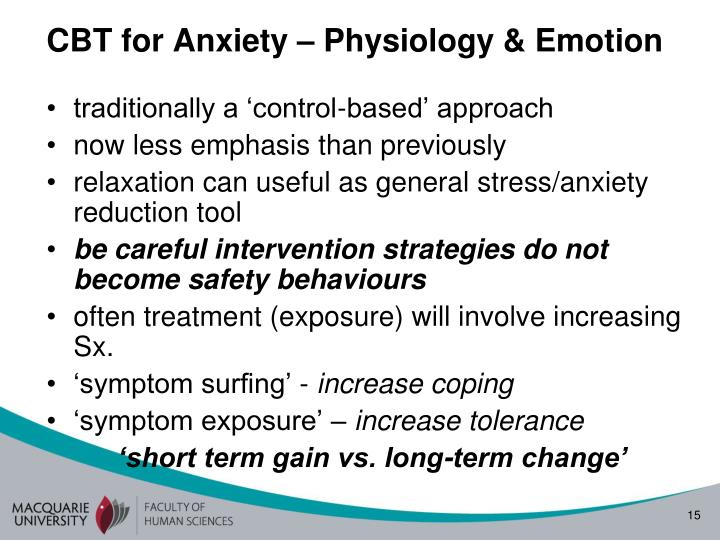 CBT for Anxiety – Physiology & Emotion