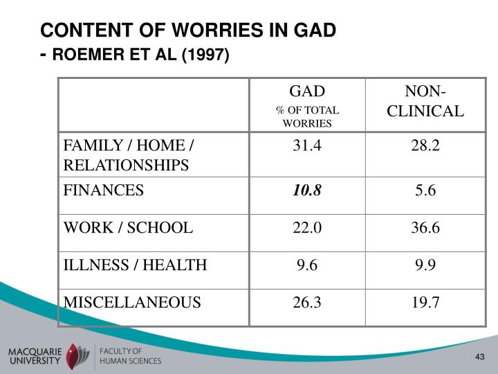 CONTENT OF WORRIES IN GAD