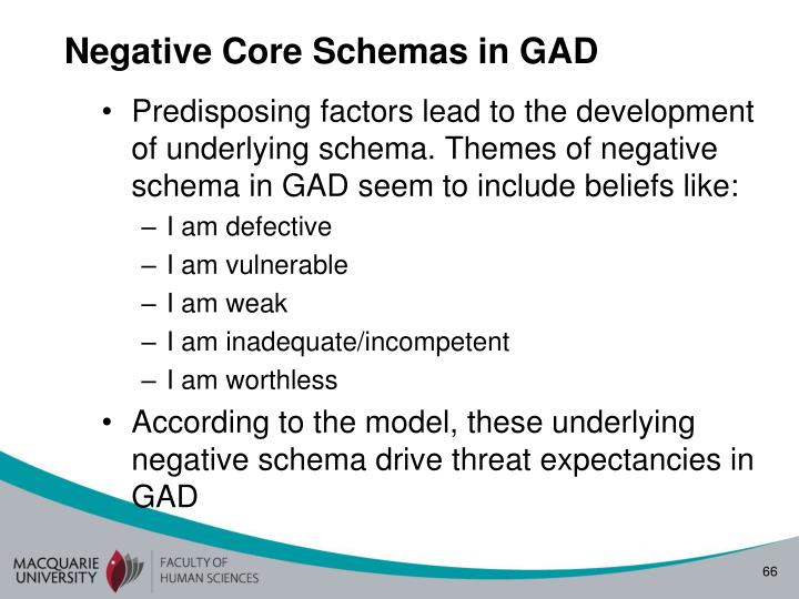 Negative Core Schemas in GAD