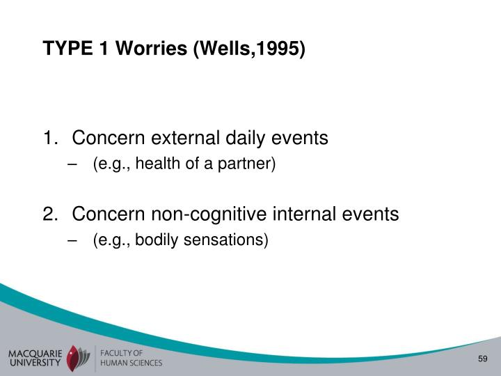 TYPE 1 Worries (Wells,1995)