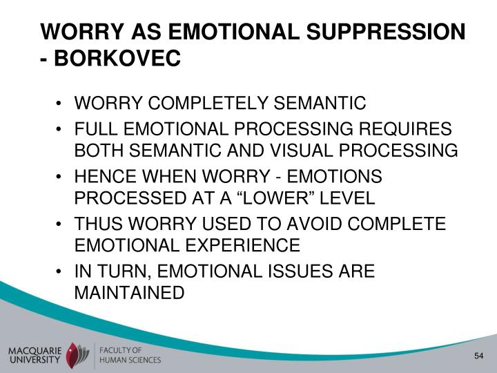 WORRY AS EMOTIONAL SUPPRESSION - BORKOVEC