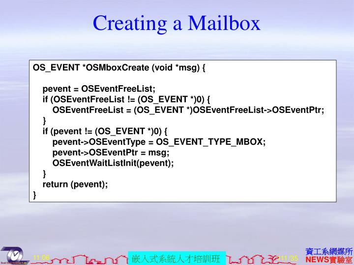 Creating a Mailbox