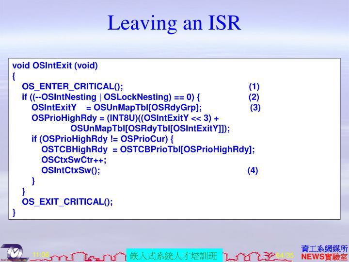 Leaving an ISR