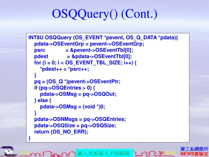 OSQQuery() (Cont.)