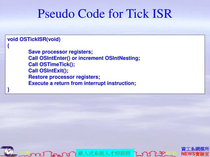 Pseudo Code for Tick ISR