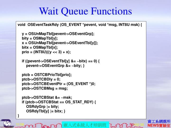 Wait Queue Functions