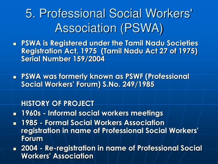 5. Professional Social Workers' Association (PSWA)