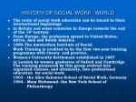 history of social work world