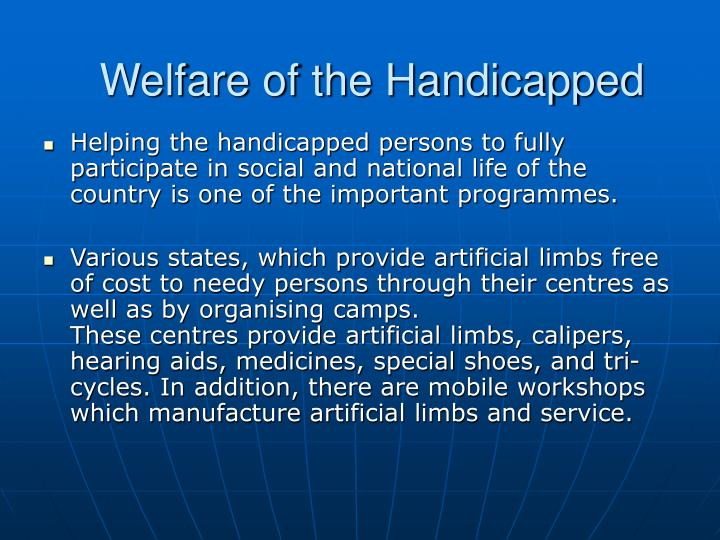 Welfare of the Handicapped