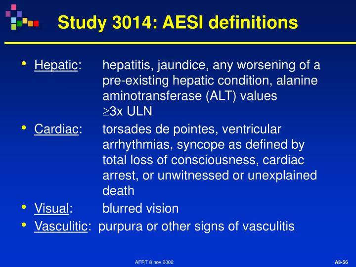 Study 3014: AESI definitions